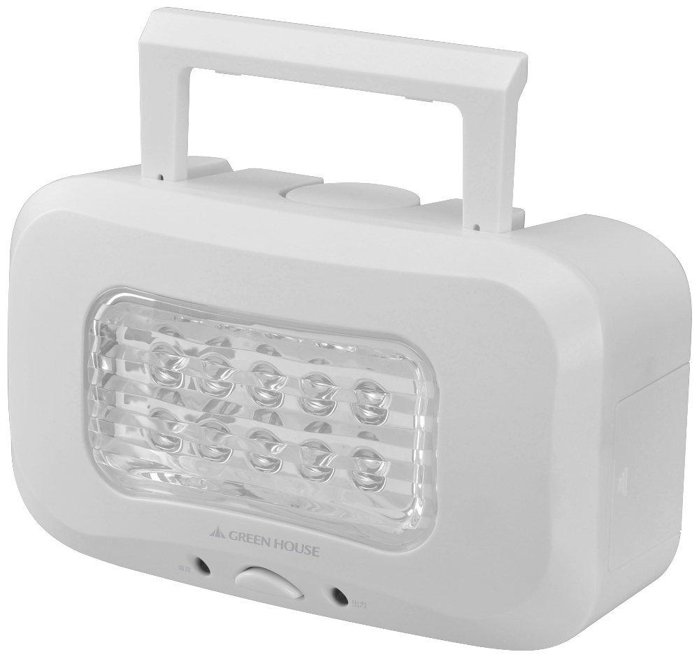 水と塩で発電するLEDランタン ホワイト GH-LED10WBA-WH
