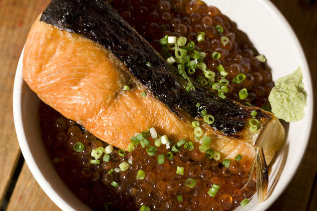渋谷 根室食堂 道玄坂店「焼鮭とイクラの親子丼」