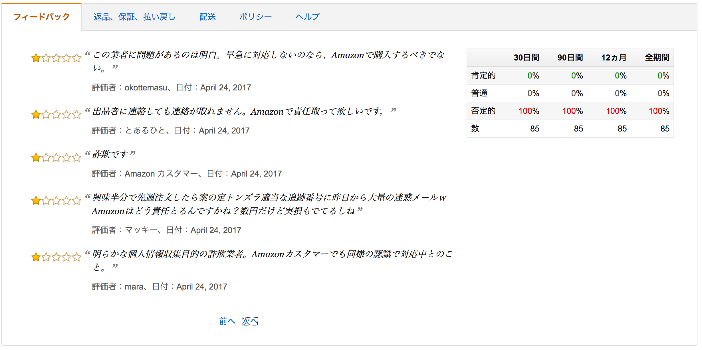 Amazonマーケットプレイス詐欺業者のアカウント